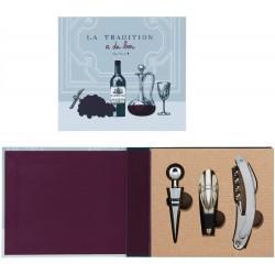 Kit livre pour le vin avec bouchon, tir-bouchon, verseur
