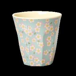 "Tasse Medium en mélamine ""Petites fleurs fond bleu"" RICE"