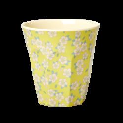 "Tasse Medium en mélamine ""Petites fleurs fond jaune"" RICE"
