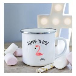 """Mug métal blanc """"Flemme en rose"""""""