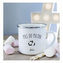 """Mug métal blanc """"Pas du matin"""""""