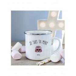 "Mug métal blanc ""Je suis ta mère"""