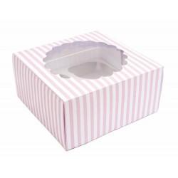 Boîte à gâteau 30x30cm rayé rose
