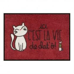"""Tapis de cuisine """"La vie de chat'ô!"""" 70x50"""