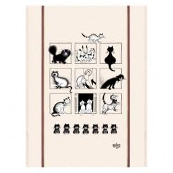"""Torchon 60x80 """"Galerie de chats"""" DUBOUT"""