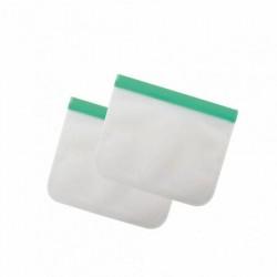 Lot de 2 sacs à zip en silicone 750ml Vert