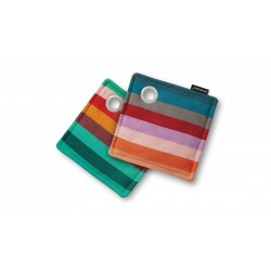 Lot de 2 maniques carrées multicolores rayées Nr.2
