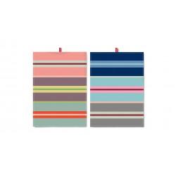 Set de 2 torchons à rayure multicolores horizontales 2