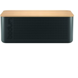 Boîte à pain rectangle noire et bambou BISTRO BODUM